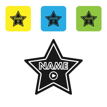 Black Hollywood walk of fame star on celebrity boulevard icon isolated on white background. Hollywood, famous sidewalk, boulevard actor. Set icons colorful square buttons. Vector Illustration Vector Illustration