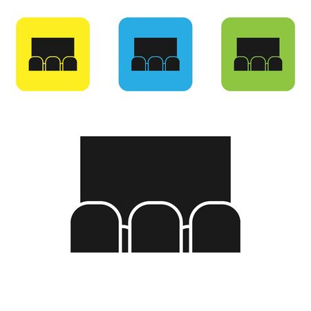 Black Cinema auditorium with screen and seats icon isolated on white background. Set icons colorful square buttons. Vector Illustration