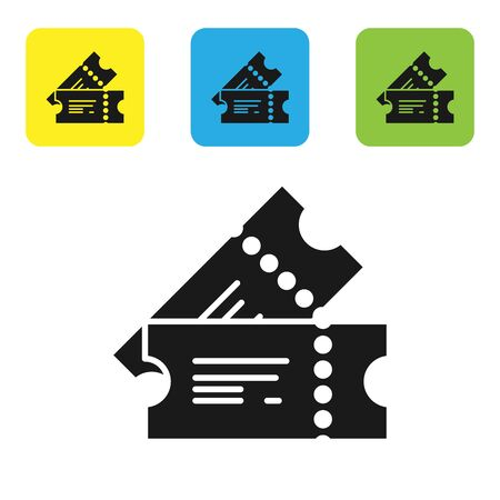 Black Cinema ticket icon isolated on white background. Set icons colorful square buttons. Vector Illustration Illustration