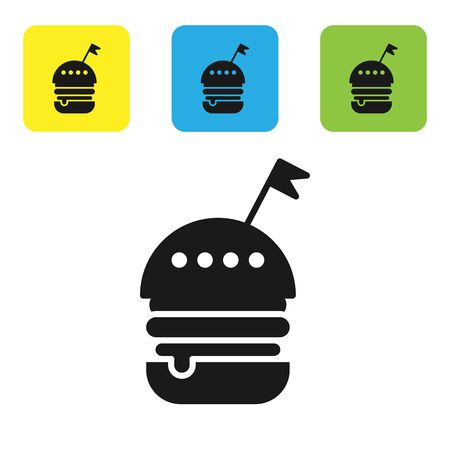 Black Burger icon isolated on white background. Hamburger icon. Cheeseburger sandwich sign. Fast food menu. Set icons colorful square buttons. Vector Illustration Ilustração