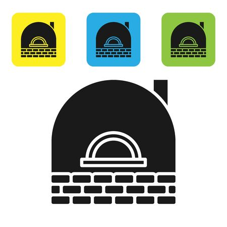 Black Brick stove icon isolated on white background. Brick fireplace, masonry stove, stone oven icon.Set icons colorful square buttons. Vector Illustration