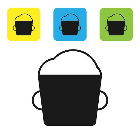 Black Bakery bowl dough icon isolated on white background. Set icons colorful square buttons. Vector Illustration Иллюстрация