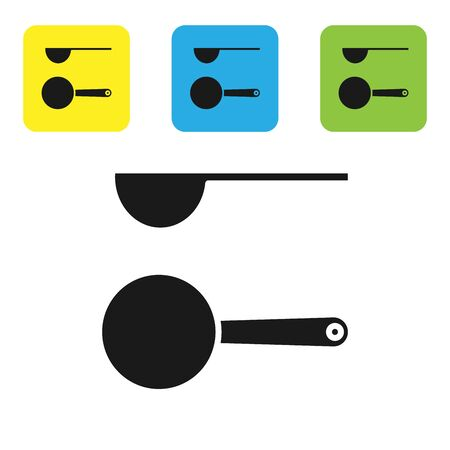 Black Measuring spoon icon isolated on white background. Set icons colorful square buttons. Vector Illustration
