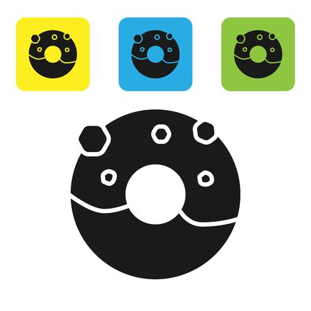 Black Donut with sweet glaze icon isolated on white background. Set icons colorful square buttons. Vector Illustration Illusztráció