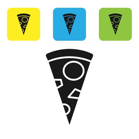 Black Slice of pizza icon isolated on white background. Set icons colorful square buttons. Vector Illustration