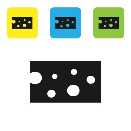 Black Cheese icon isolated on white background. Set icons colorful square buttons. Vector Illustration Иллюстрация