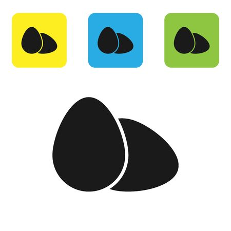 Black Chicken egg icon isolated on white background. Set icons colorful square buttons. Vector Illustration