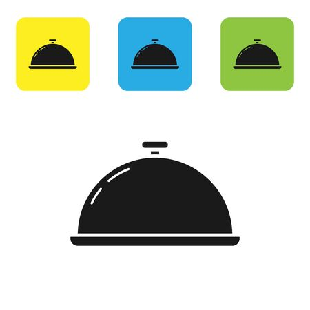 Black Covered with a tray of food icon isolated on white background. Tray and lid sign. Restaurant cloche with lid. Kitchenware symbol. Set icons colorful square buttons. Vector Illustration