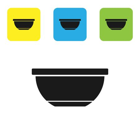 Black Bowl icon isolated on white background. Set icons colorful square buttons. Vector Illustration