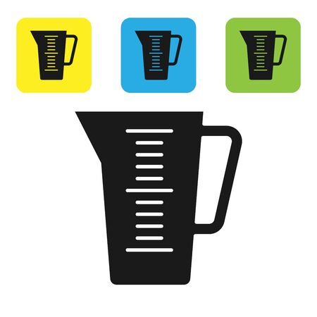 Black Measuring cup to measure dry and liquid food icon isolated on white background. Plastic graduated beaker with handle. Set icons colorful square buttons. Vector Illustration
