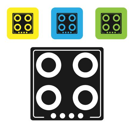 Black Gas stove icon isolated on white background. Cooktop sign. Hob with four circle burners. Set icons colorful square buttons. Vector Illustration
