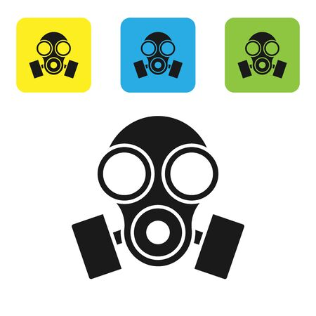 Black Gas mask icon isolated on white background. Respirator sign. Set icons colorful square buttons. Vector Illustration Vectores