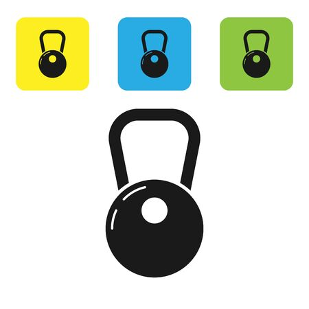 Black Kettlebell icon isolated on white background. Set icons colorful square buttons. Vector Illustration