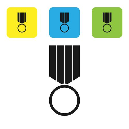 Black Military reward medal icon isolated on white background. Army sign. Set icons colorful square buttons. Vector Illustration Ilustração