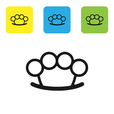 Black Brass knuckles icon isolated on white background. Set icons colorful square buttons. Vector Illustration