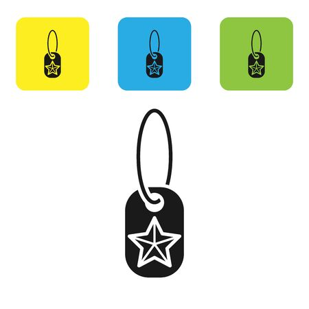 Black Military dog tag icon isolated on white background. Identity tag icon. Army sign. Set icons colorful square buttons. Vector Illustration