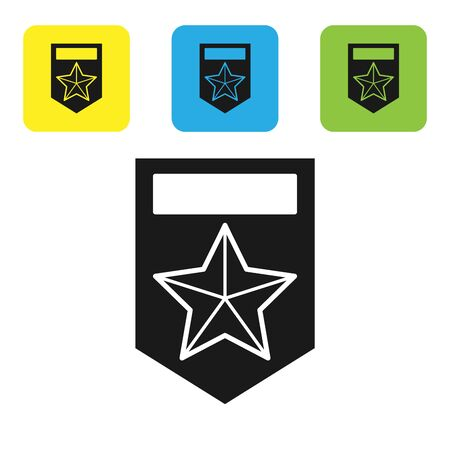 Black Chevron icon isolated on white background. Military badge sign. Set icons colorful square buttons. Vector Illustration Çizim