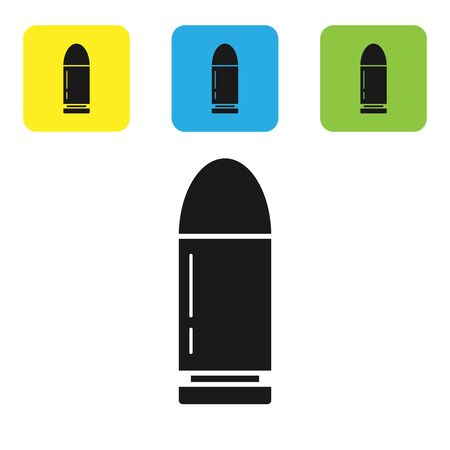Black Bullet icon isolated on white background. Set icons colorful square buttons. Vector Illustration