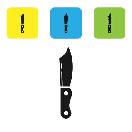 Black Military knife icon isolated on white background. Set icons colorful square buttons. Vector Illustration 일러스트