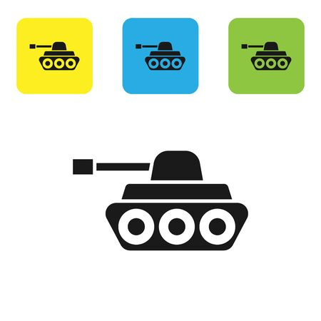 Black Military tank icon isolated on white background. Set icons colorful square buttons. Vector Illustration