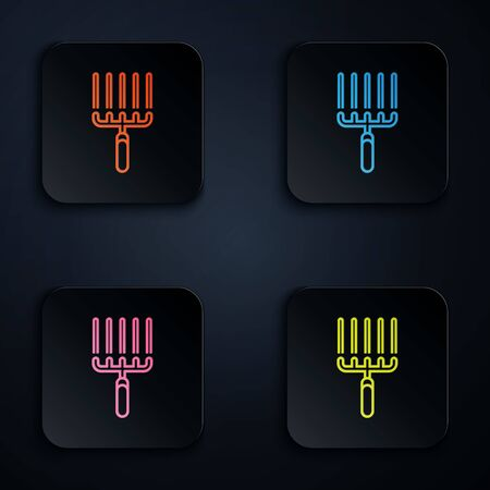 Color neon line Garden rake in work icon isolated on white background. Tool for horticulture, agriculture, farming. Ground cultivator. Set icons in colorful square buttons. Vector Illustration
