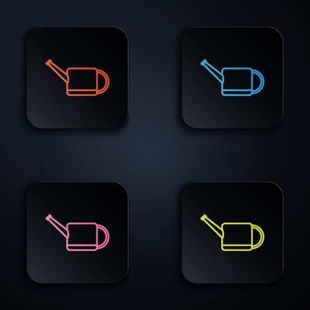 Color neon line Watering can icon isolated on white background. Irrigation symbol. Set icons in colorful square buttons. Vector Illustration