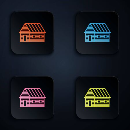 Color neon line Farm house icon isolated on white background. Set icons in colorful square buttons. Vector Illustration Çizim