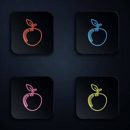 Color neon line Apple icon isolated on white background. Fruit with leaf symbol. Set icons in colorful square buttons. Vector Illustration Banco de Imagens - 131533450