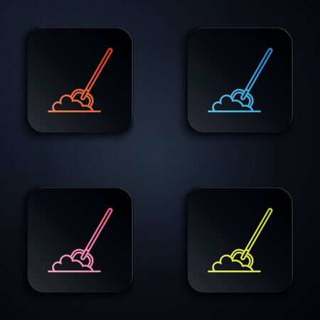 Color neon line Shovel in the ground icon isolated on white background. Gardening tool. Tool for horticulture, agriculture, farming. Set icons in colorful square buttons. Vector Illustration Ilustrace