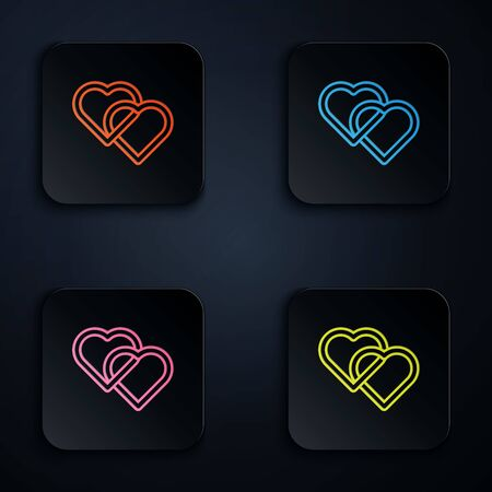 Color neon line Two Linked Hearts icon isolated on white background. Romantic symbol linked, join, passion and wedding. Valentine day symbol. Set icons in colorful square buttons. Vector Illustration