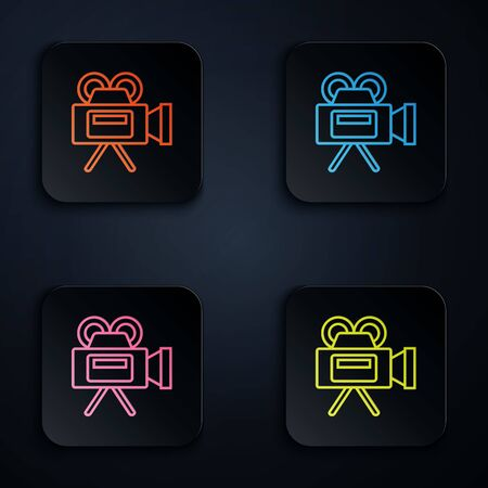 Color neon line Cinema camera icon isolated on white background. Video camera. Movie sign. Film projector. Set icons in colorful square buttons. Vector Illustration