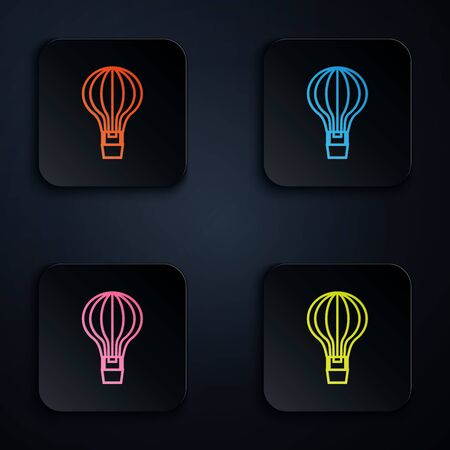Color neon line Hot air balloon icon isolated on white background. Air transport for travel. Set icons in colorful square buttons. Vector Illustration Иллюстрация