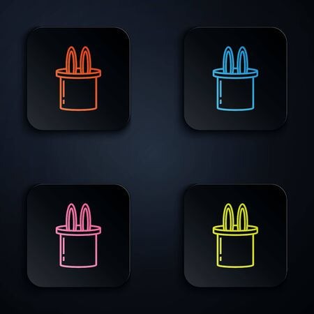 Color neon line Magician hat and rabbit ears icon isolated on white background. Magic trick. Mystery entertainment concept. Set icons in colorful square buttons. Vector Illustration
