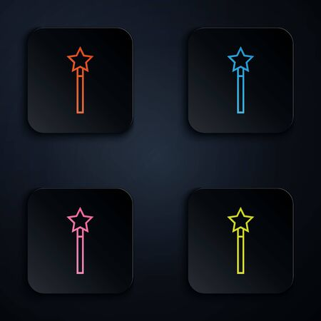 Color neon line Magic wand icon isolated on white background. Star shape magic accessory. Magical power. Set icons in colorful square buttons. Vector Illustration Stock Illustratie