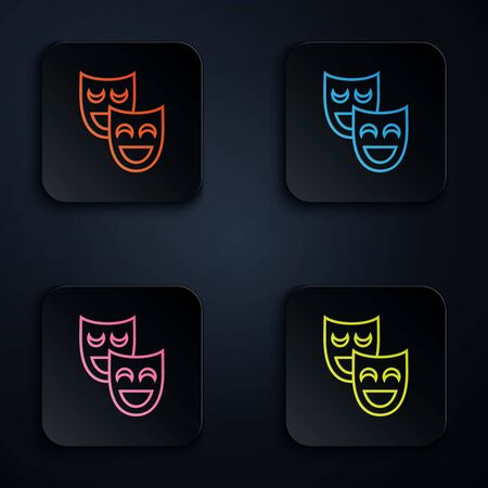Color neon line Comedy theatrical masks icon isolated on white background. Set icons in colorful square buttons. Vector Illustration 일러스트