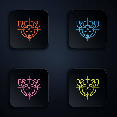 Color neon line Hunt on moose with crosshairs icon on white background. Hunting club with moose and target. Rifle lens aiming a moose. Set icons in colorful square buttons. Vector Illustration Çizim