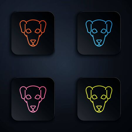 Color neon line Hunting dog icon on white background. Set icons in colorful square buttons. Vector Illustration 일러스트
