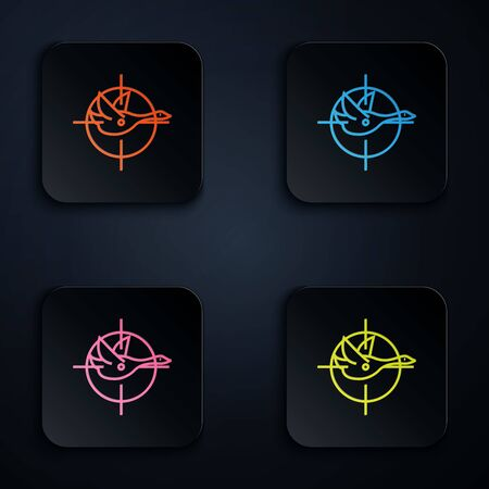 Color neon line Hunt on duck with crosshairs icon on white background. Hunting club  with duck and target. Rifle lens aiming a duck. Set icons in colorful square buttons. Vector Illustration
