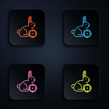 Color neon line Hunt on rabbit with crosshairs icon on white background. Hunting club with rabbit and target. Rifle lens aiming a hare. Set icons in colorful square buttons. Vector Illustration