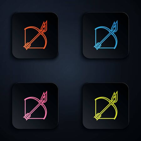 Color neon line Bow and fire arrow icon on white background. Set icons in colorful square buttons. Vector Illustration
