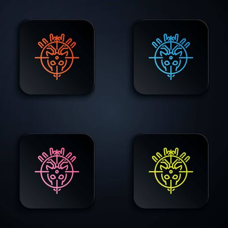 Color neon line Hunt on deer with crosshairs icon on white background. Hunting club with deer and target. Rifle lens aiming a deer. Set icons in colorful square buttons. Vector Illustration