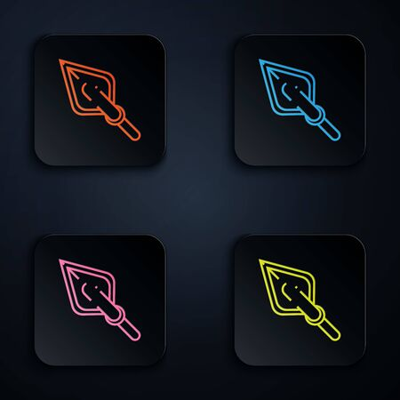 Color neon line Hipster arrow tip icon on white background. Set icons in colorful square buttons. Vector Illustration