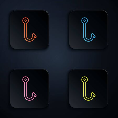 Color neon line Fishing hook icon isolated on white background. Fishing tackle. Set icons in colorful square buttons. Vector Illustration