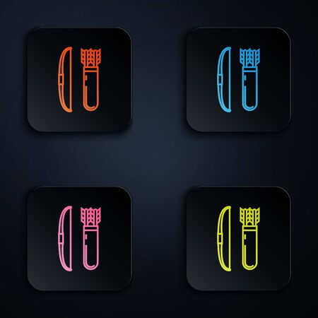 Color neon line Bow and arrow in quiver icon on white background. Set icons in colorful square buttons. Vector Illustration