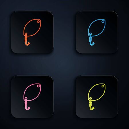 Color neon line Fishing spoon icon isolated on white background. Fishing baits in shape of fish. Fishing tackle. Set icons in colorful square buttons. Vector Illustration Banco de Imagens - 131539399