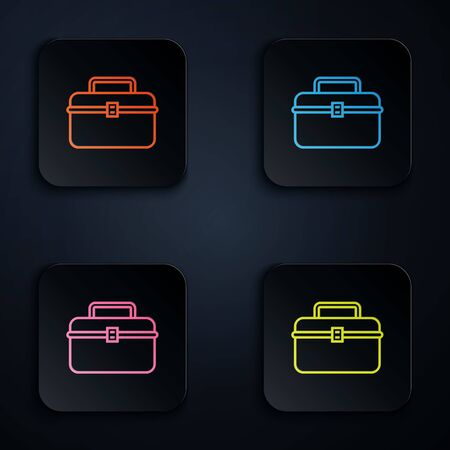 Color neon line Case or box container for wobbler and gear fishing equipment icon isolated on white background. Fishing tackle. Set icons in colorful square buttons. Vector Illustration
