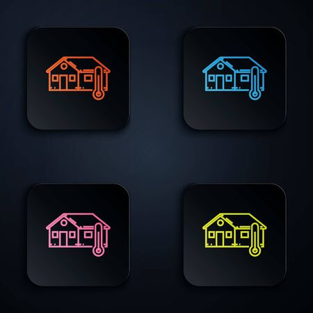 Color neon line House temperature icon isolated on white background. Thermometer icon. Set icons in colorful square buttons. Vector Illustration