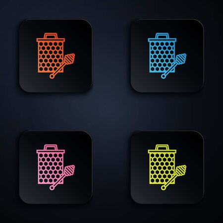 Color neon line Honeycomb with honey dipper stickicon isolated on white background. Honey ladle. Honey cells symbol. Sweet natural food. Set icons in colorful square buttons. Vector Illustration