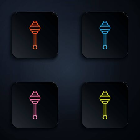 Color neon line Honey dipper stick icon isolated on white background. Honey ladle. Set icons in colorful square buttons. Vector Illustration Иллюстрация