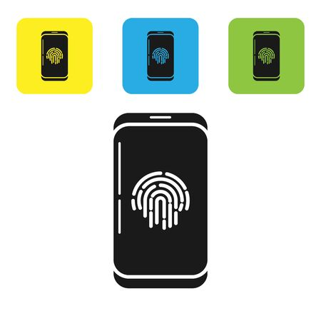 Black Smartphone with fingerprint scanner icon isolated on white background. Concept of security, personal access via finger on mobile phone. Set icons colorful square buttons. Vector Illustration Çizim
